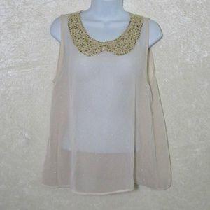 B. Jewel Sheer Glitter Sequin Sleeveless Blouse
